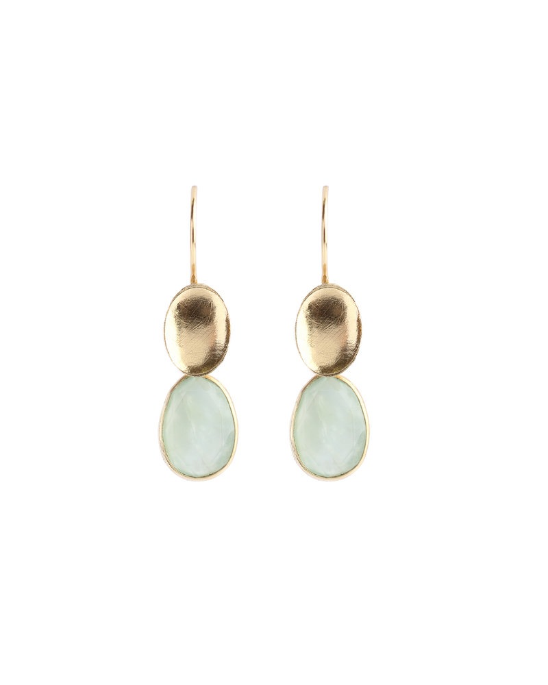 Muja Juma Earring 925 Sterling Silver with Prenite gold plated