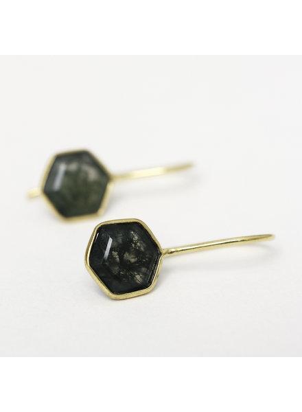 Muja Juma Earring 8mm hexagon mos agate gold plated