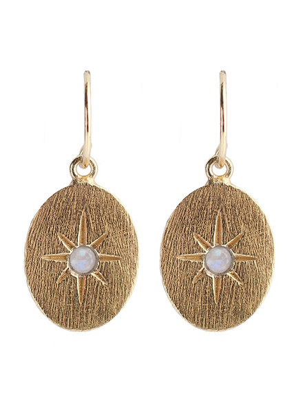 Muja Juma Earring oval star white moonstone gold pated