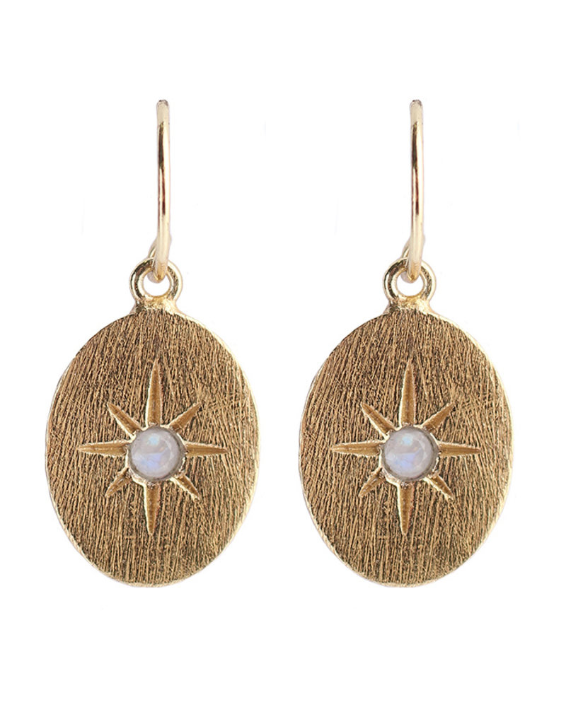 Muja Juma Earring 925 Sterling Silver with White Moonstone gold plated