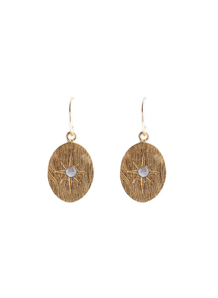 Muja Juma Earring oval star labradorite gold pated
