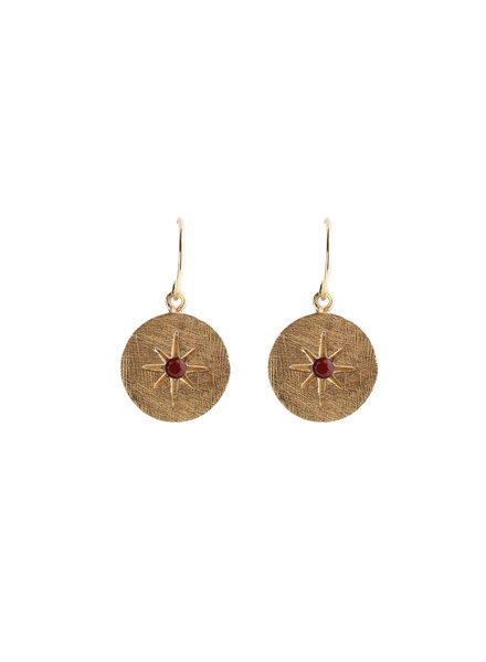 Muja Juma Earring round star red jasper gold pated