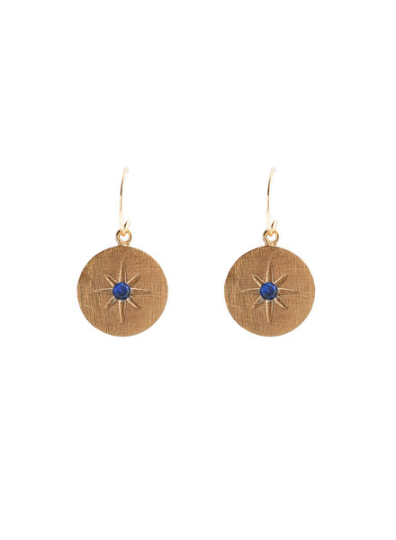 Muja Juma Earring round star lapis gold pated
