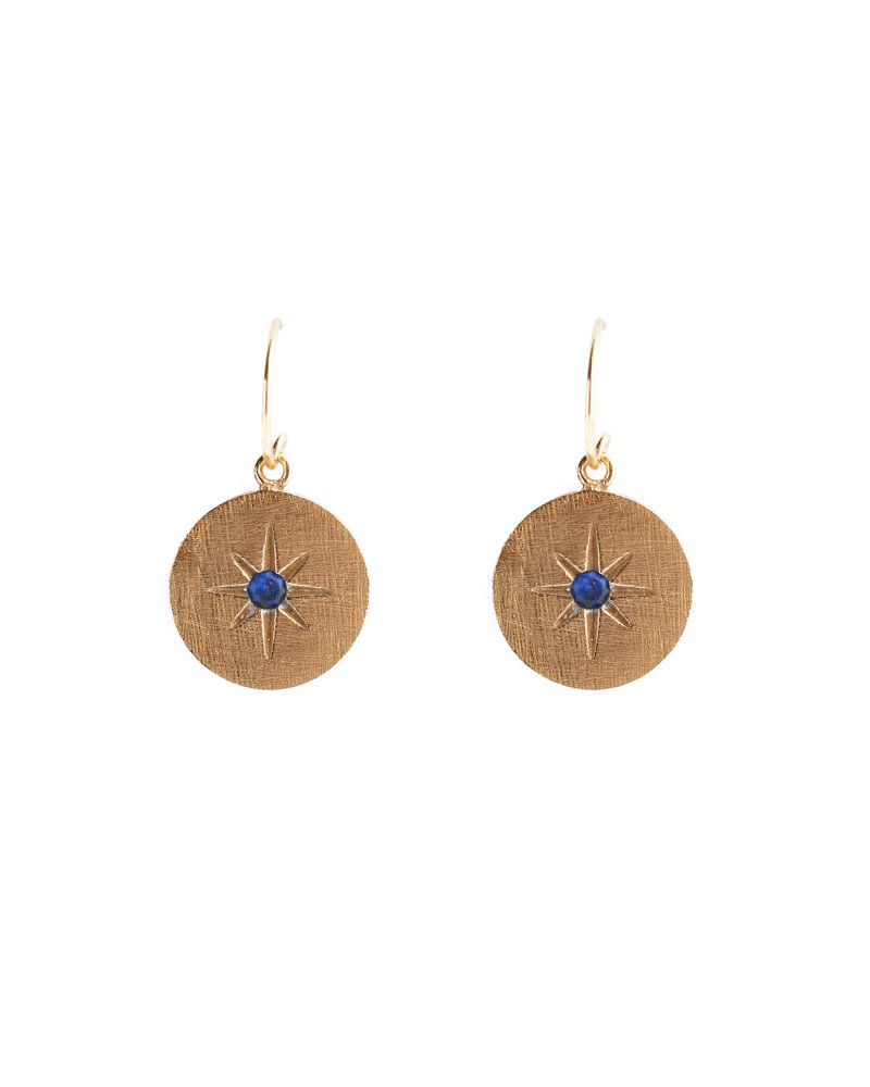 Muja Juma Earring 925 Sterling Silver with Lapis gold plated