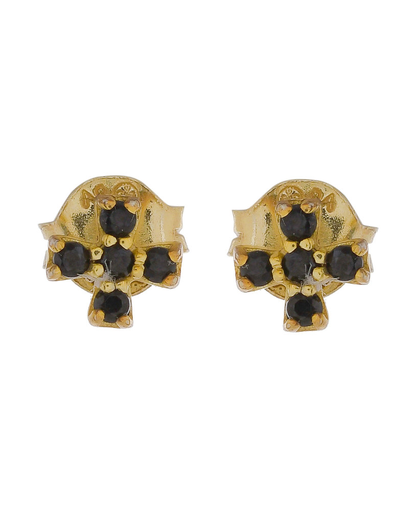 Muja Juma Earring 925 Sterling Silver with Black Zirkonia gold plated