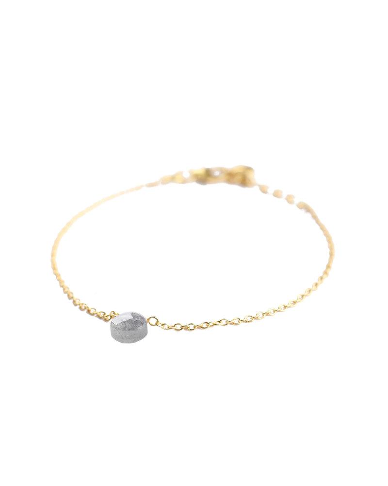 Muja Juma Bracelet 925 Sterling Silver with Labradorite gold plated