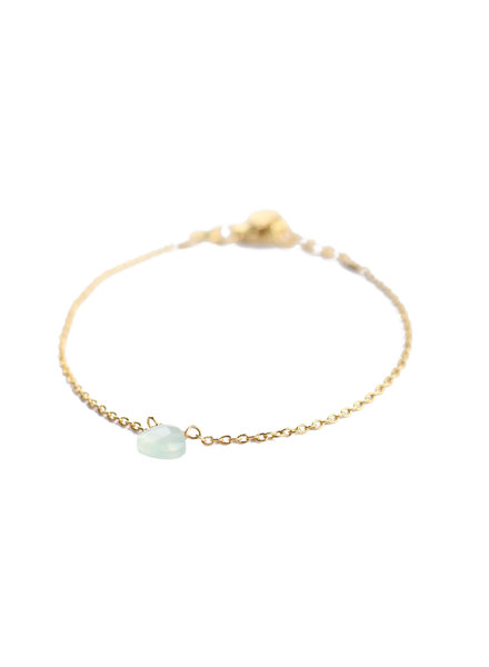 Muja Juma Bracelet 1 drop green prenite gold plated