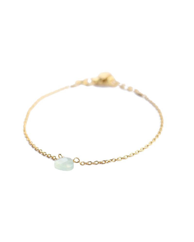 Muja Juma Bracelet 925 Sterling Silver with Green Prenite gold plated