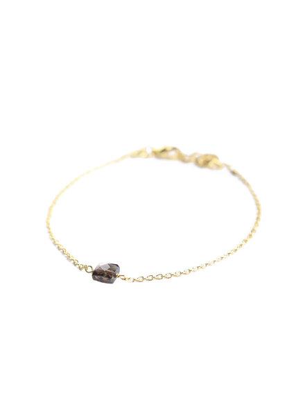 Muja Juma Armband 5mm vierkant donkere quartz verguld