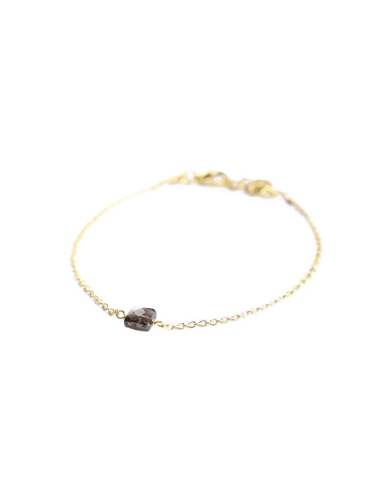 Muja Juma Bracelet 925 Sterling Silver with Smokey Quartz gold plated