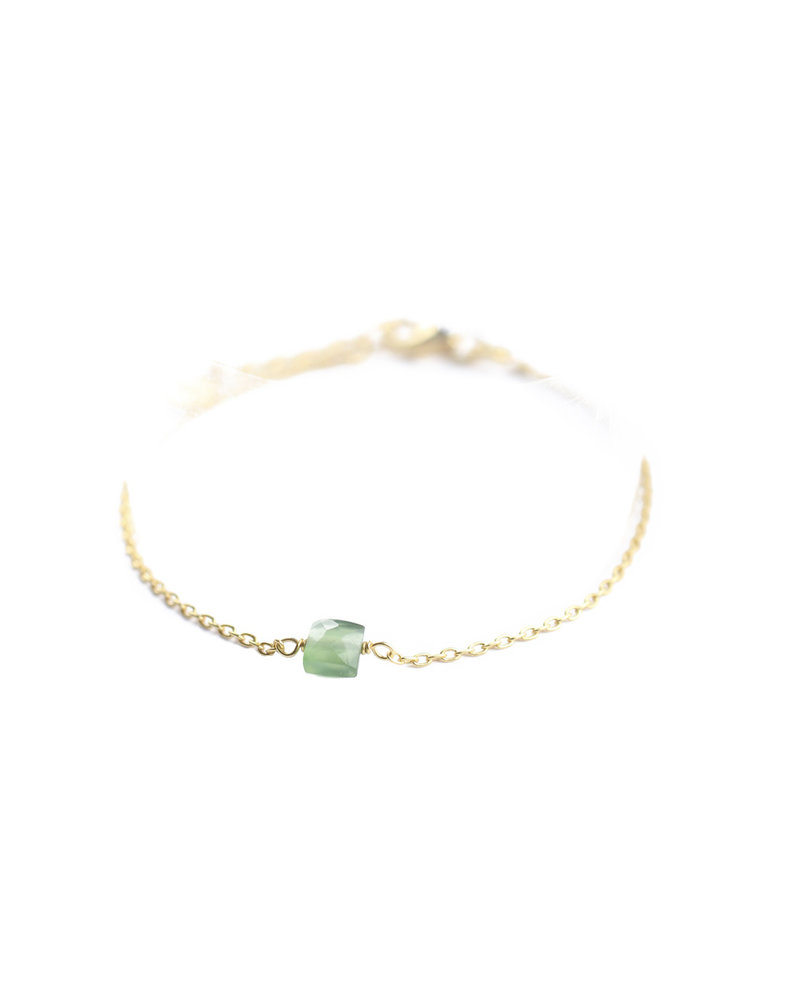 Muja Juma Bracelet 925 Sterling Silver with Green Nefrite gold plated