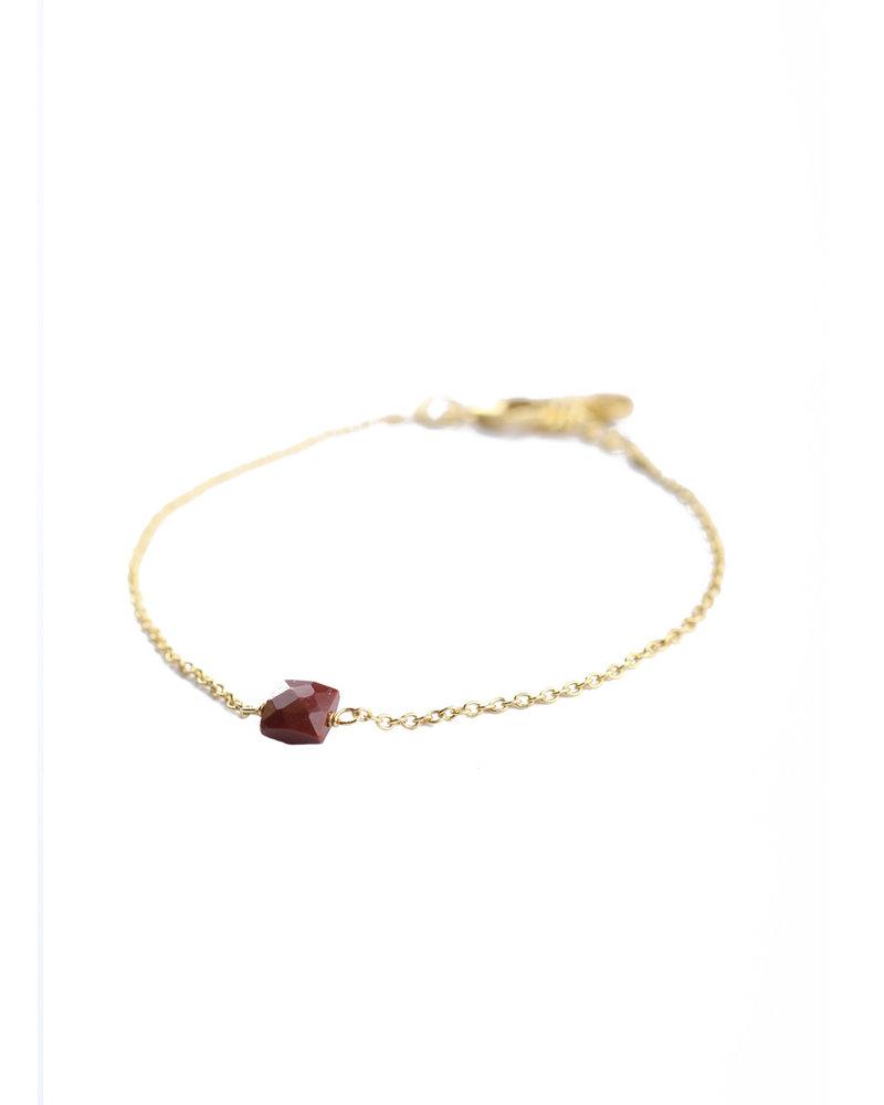 Muja Juma Armband 925 Sterling Silver met Rode Jaspis verguld