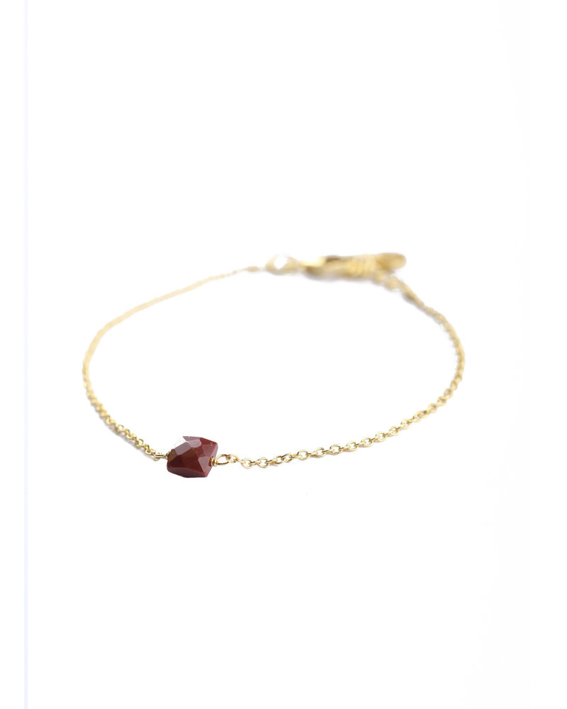 Muja Juma Bracelet 925 Sterling Silver with Red Jasper gold plated