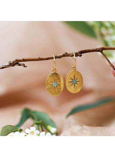 Muja Juma Earring oval star amazonite gold pated
