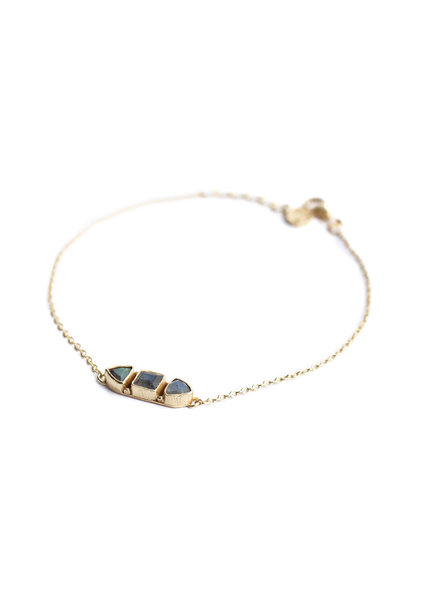 Muja Juma Bracelet stone bone labradorite gold plated