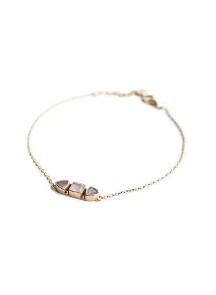 Muja Juma Armband Stein Knochen Rose Quarz vergoldet
