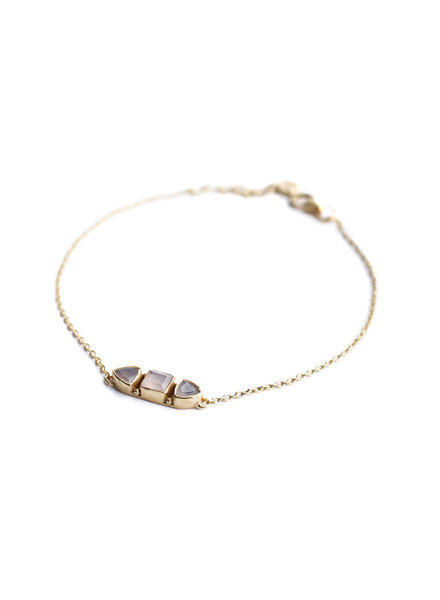 Muja Juma Bracelet stone bone rose quartz gold plated