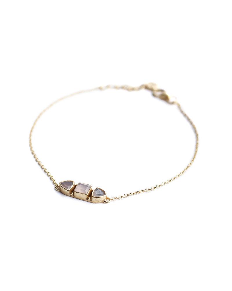 Muja Juma Armband 925 Sterling Silber mit vergoldetem Rosenquarz