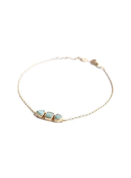 Muja Juma Bracelet stone bone amazonite gold plated