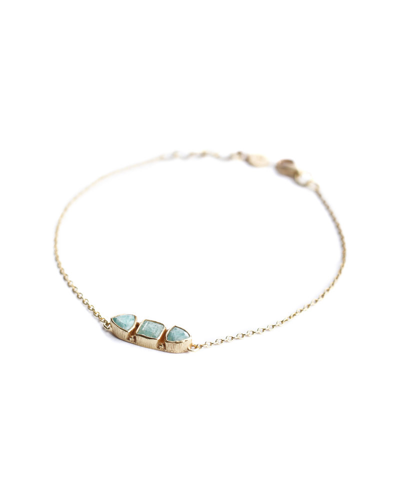 Muja Juma Bracelet 925 Sterling Silver with Amazonite gold plated