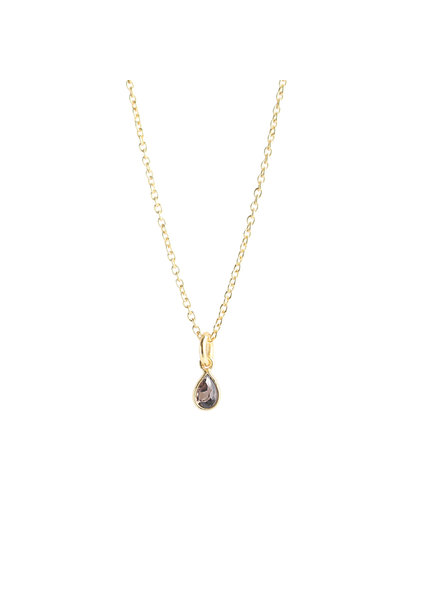 Muja Juma Necklace mini drop dark quartz gold plated