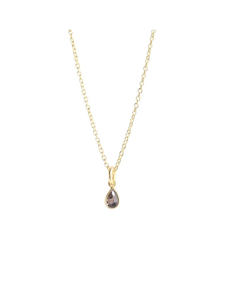Muja Juma Halskette 925 Sterling Silber mit dunklem Quarz vergoldet