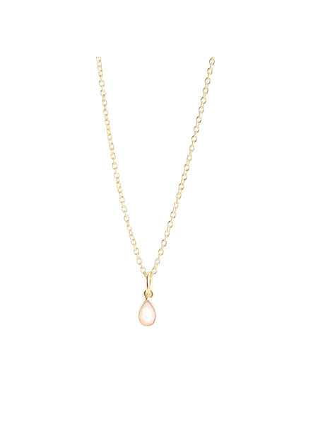 Muja Juma Necklace tiny drop peach moonstone gold plated