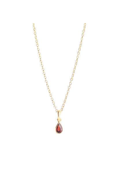 Muja Juma Necklace tiny drop ruby gold plated