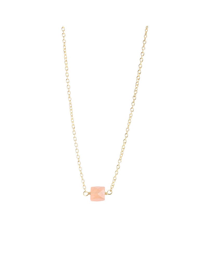 Muja Juma Necklace 925 Sterling Silver with Peach Moonstone gold plated