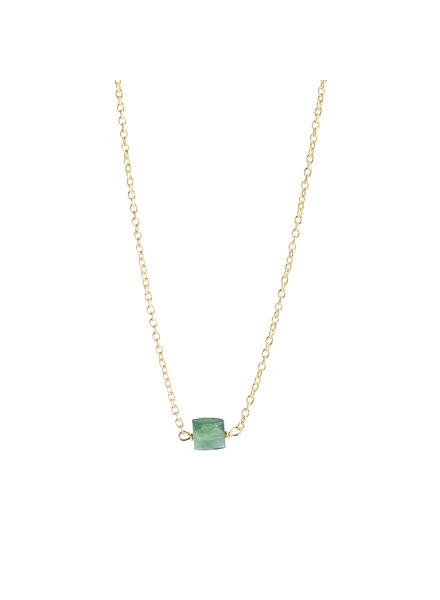 Muja Juma Necklace 5mm square green nefrite gold plated