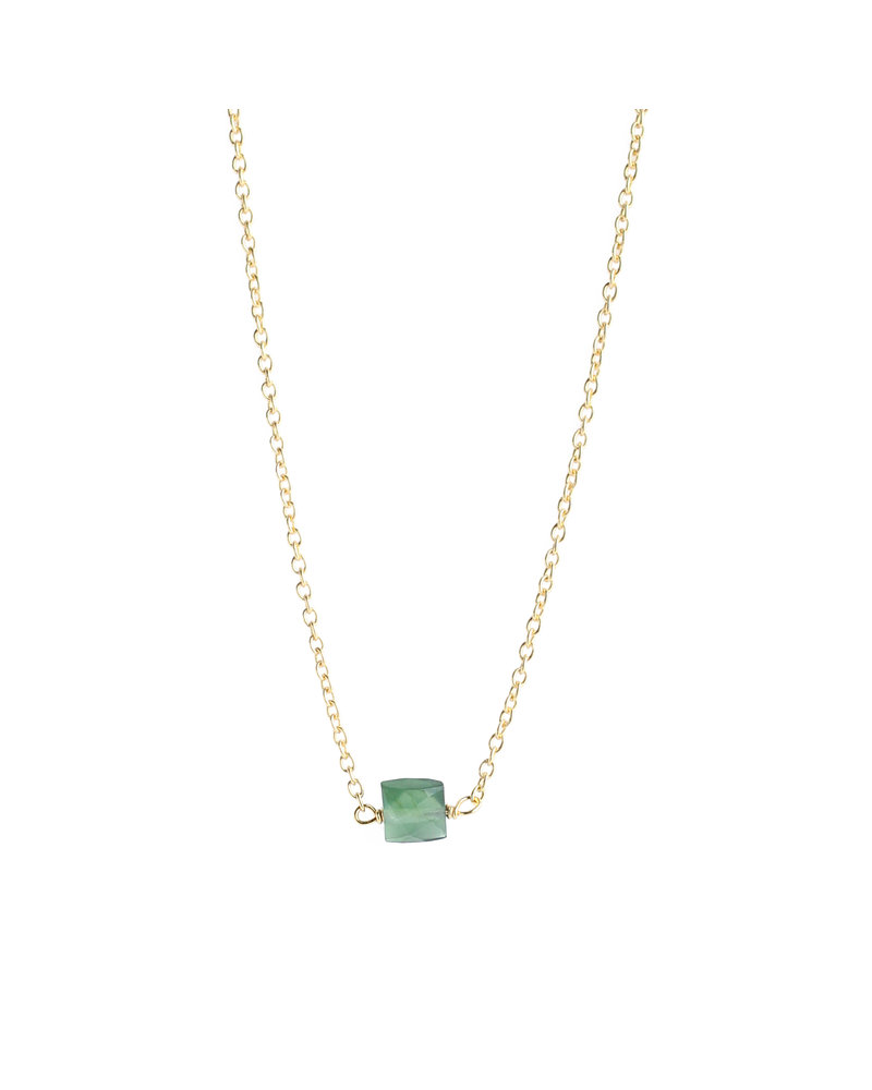 Muja Juma Necklace 925 Sterling Silver with Green Nefrite gold plated