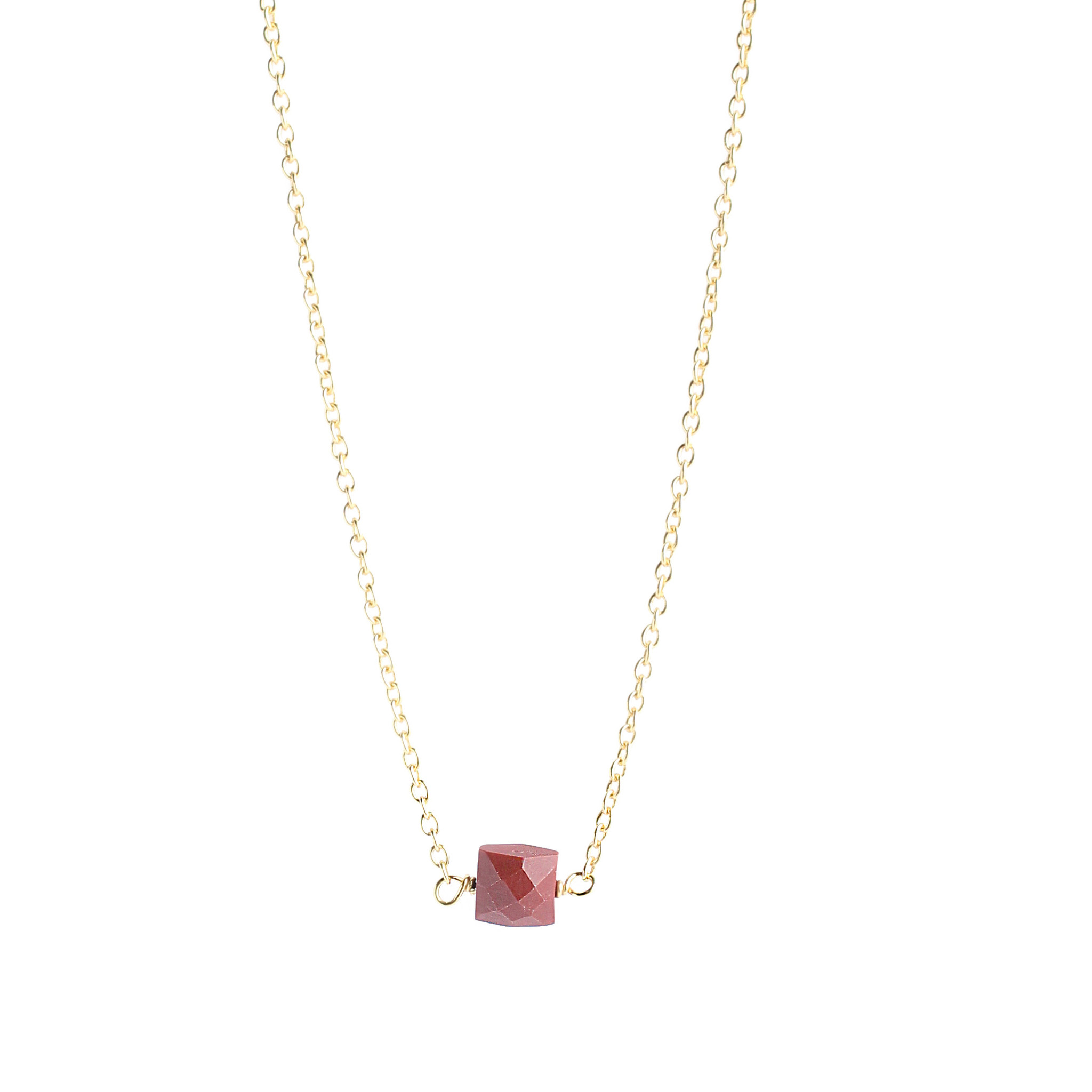 Silver-plated necklace with red Jaspe pendant