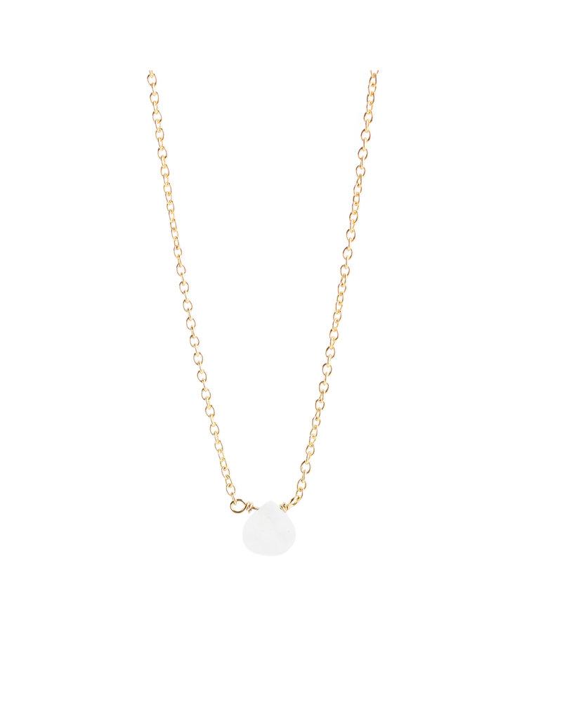 Muja Juma Halskette 925 Sterling Silber mit weißem Mondstein vergoldet