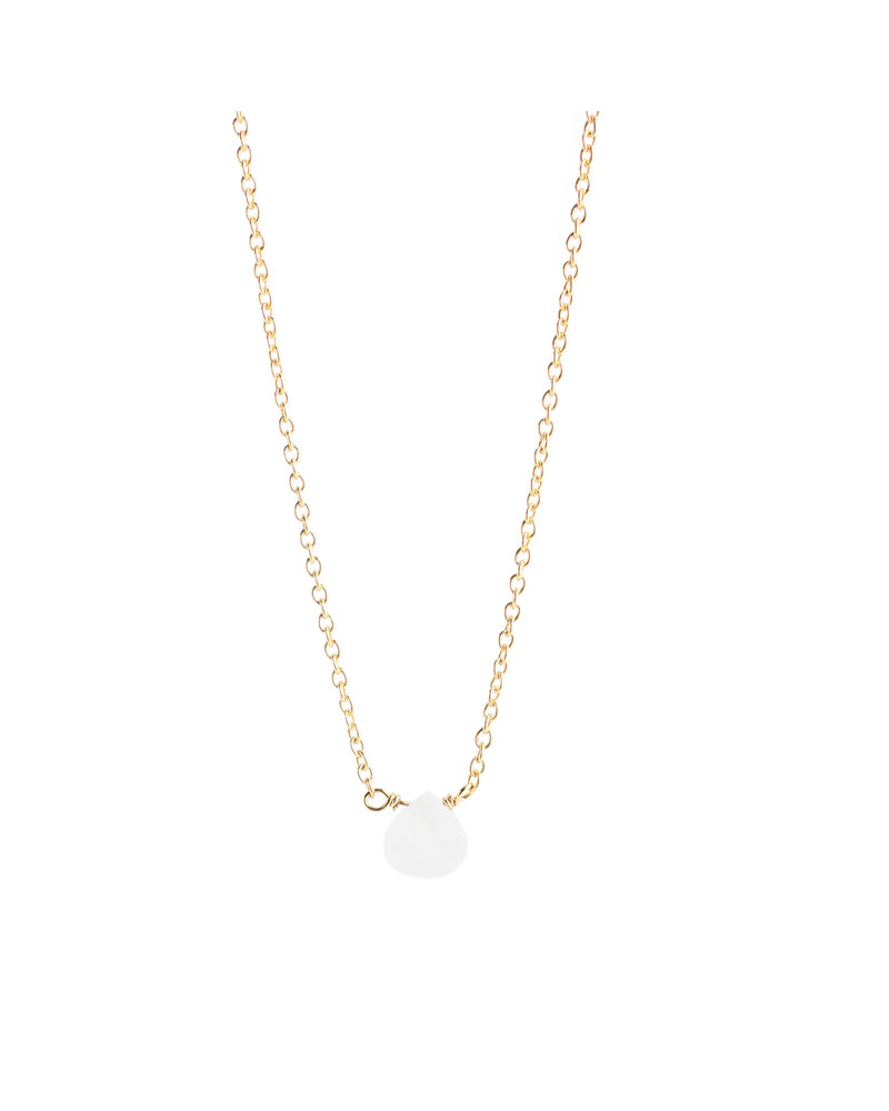 Muja Juma Necklace 925 Sterling Silver with White Moonstone gold plated