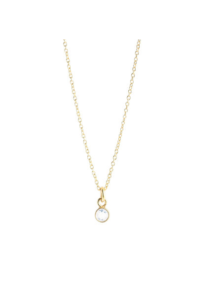 Muja Juma Necklace tiny round pendant rainbow moonstone gold plated