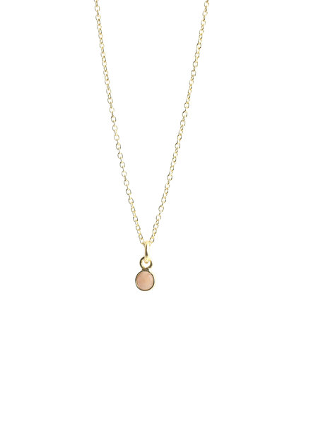 Muja Juma Necklace tiny round pendant pink calcedonite gold plated