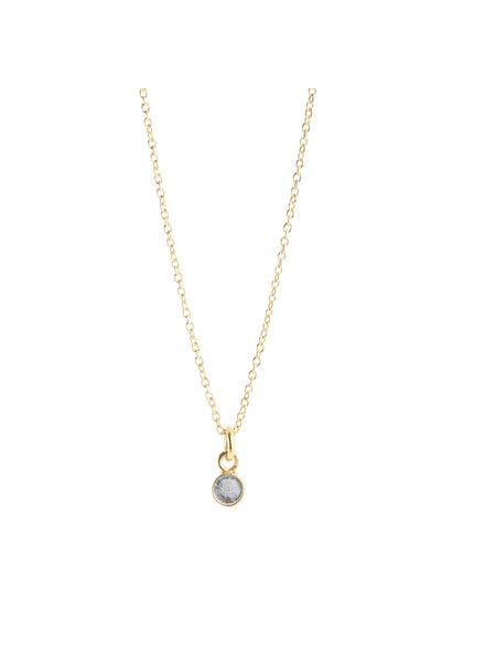 Muja Juma Necklace tiny round pendant labradorite gold plated