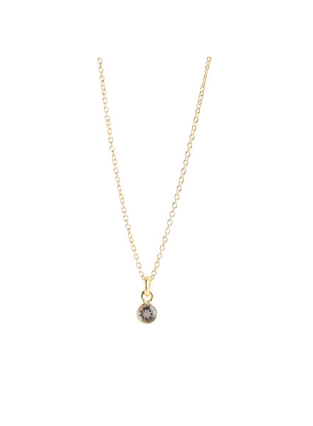 Muja Juma Necklace tiny round pendant smokey quartz gold plated