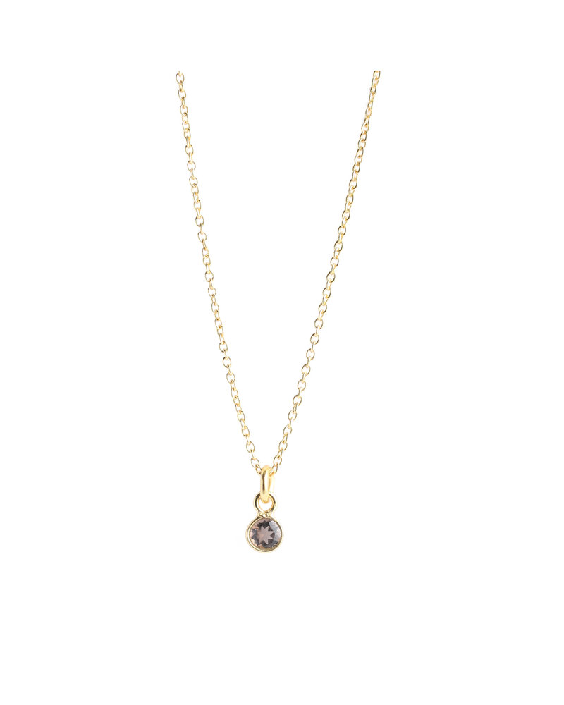 Muja Juma Necklace 925 Sterling Silver with Smokey Quartz gold plated