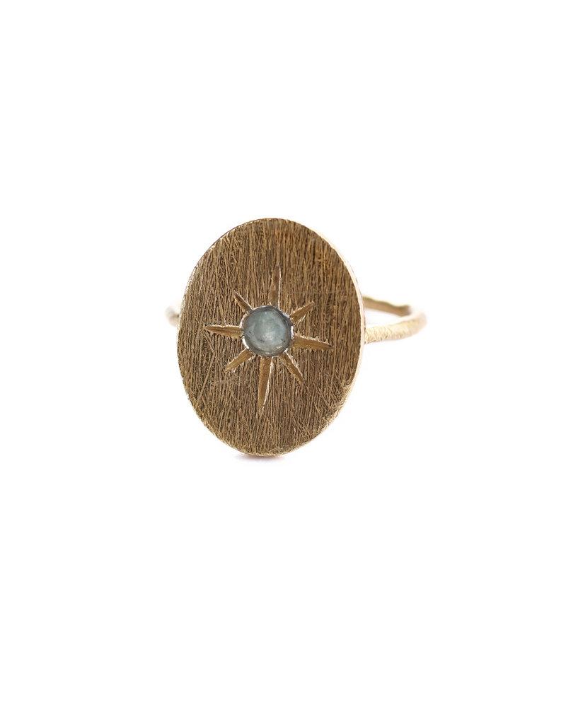 Muja Juma Ring star oval gilded amazonite