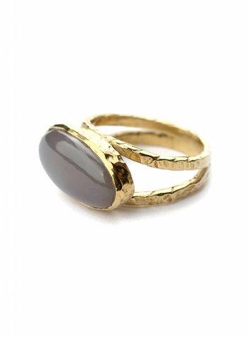 Grey stone ring