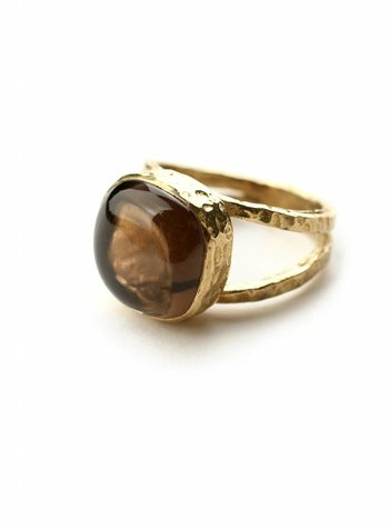 Smokey Quartz square ring