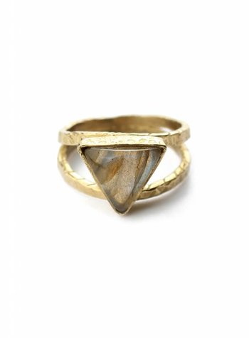Triangle labradorite ring