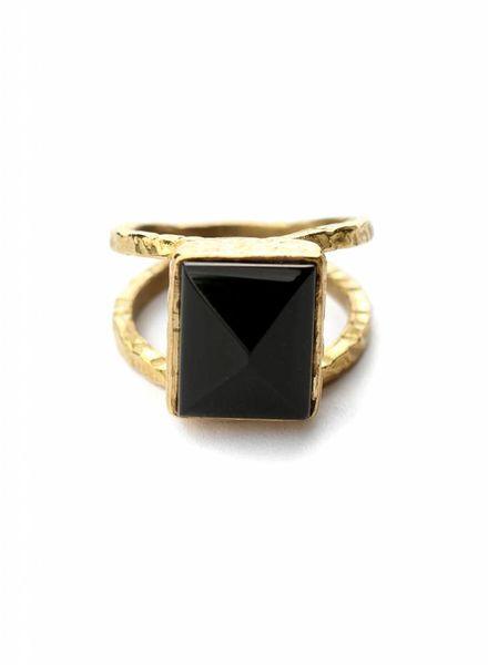 exoal Black onyx stone ring