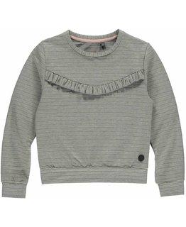 Levv Levv - ALEXANDREA Grey Melee Stripe Sweater