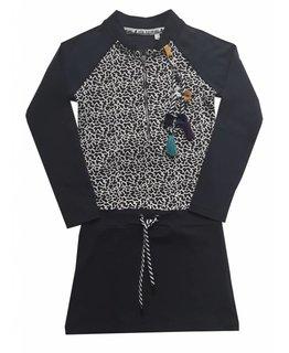 Topitm TOPitm - dress Josje navy/AOP dots