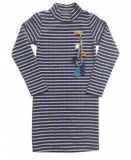 Topitm TOPitm - dress turtle Ella silver/navy stripe