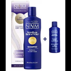 Nisim Shampoo sulfaatvrij normaal tot droog + Nisim Finishing Rinse Conditioner sulfaatvrij (60ml)