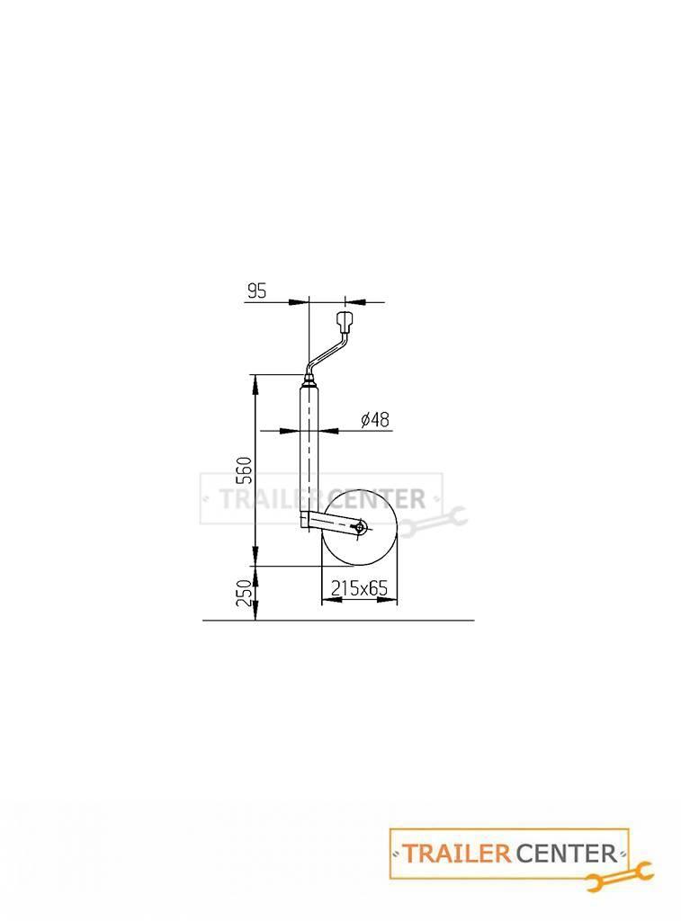 AL-KO AL-KO Stützrad PLUS mit Aussenrohr 48mm rund bis 150kg • lange Ausführung