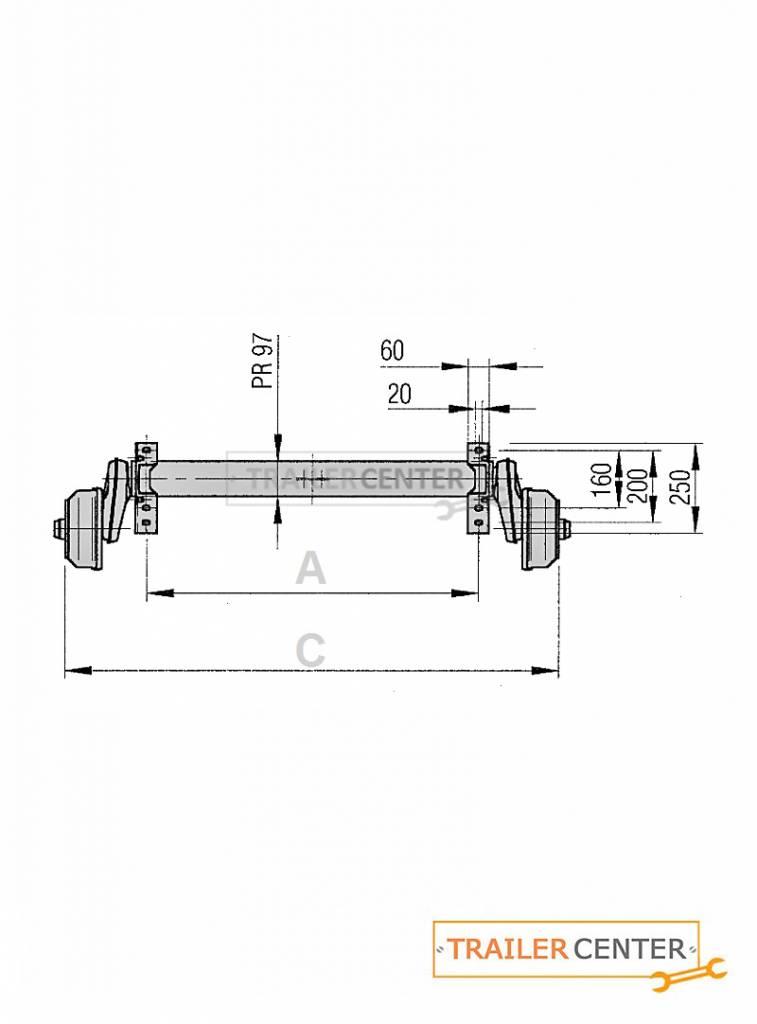 AL-KO AL-KO Achse für gebremste Anhänger • Typ B 1200-6 • bis 1350kg • Radanschluss 140x5
